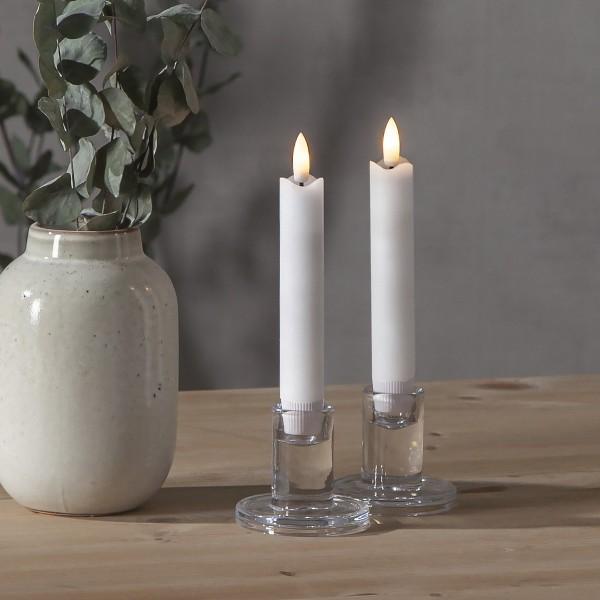"LED Stabkerze ""Flamme"" - Echtwachs - warmweiße LED - H: 15cm - Timer - weiß - 2er Set"