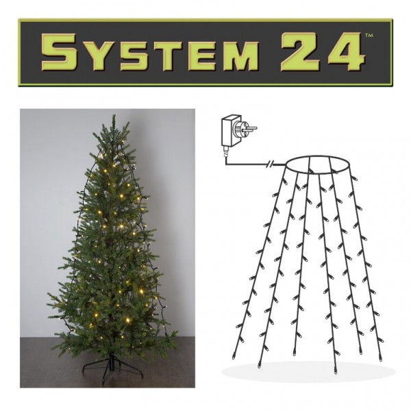 System 24 | Baummantel - Netz | 84 warmweiße LEDs, 6 Stränge | 1,8m | koppelbar | exkl. Trafo