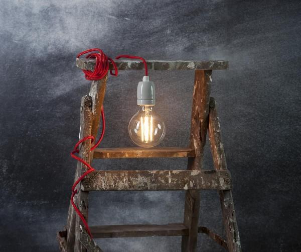 Ersatzkabel für Leuchtsterne und Hängeleuchten - Länge ca. 5 m - E27 Fassung - mit Schalter - rot