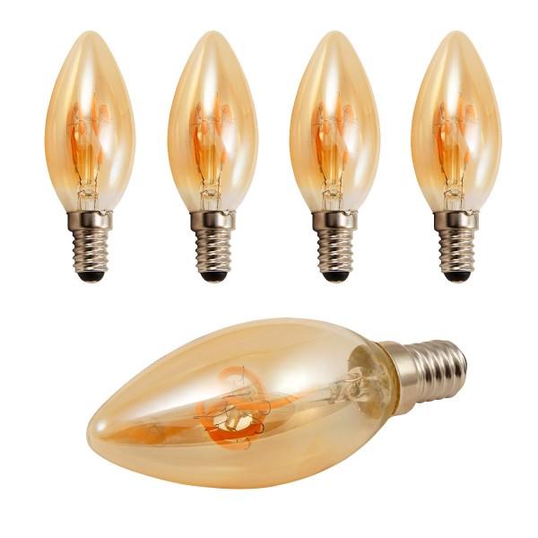 4 x LED Kerzenlampe RETRO-GOLD-Filament - E14 - 2W - 150lm - 2200K