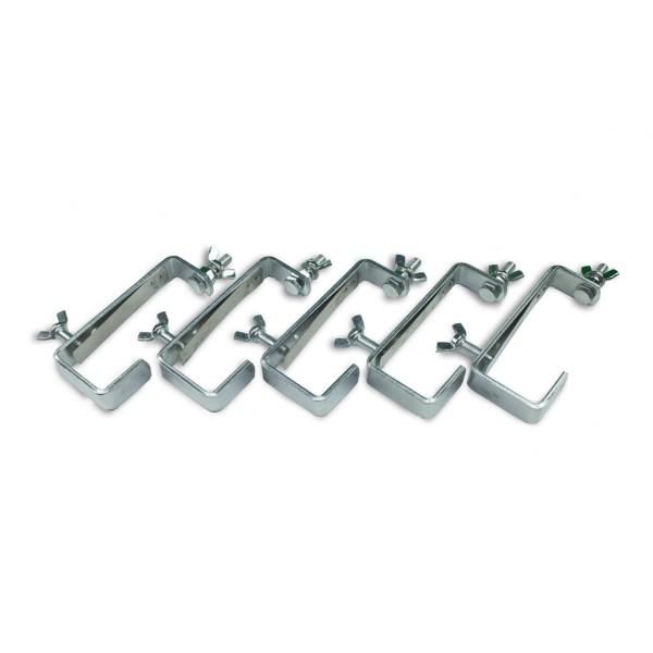 Theaterhaken 50kg Set CC-50 silber (5 Stück) - Stabiler Montagehaken mit Schutzlippe - bis 50kg | DELTATRUSS