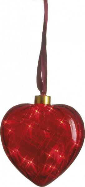 Heart aus Glas mit 16 Minilichtern