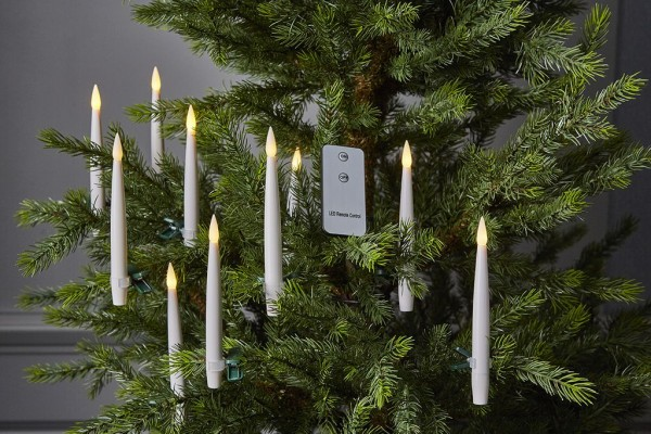 LED-Baumkerze Paulina | Kunststoff | flackernd | Fernbedienung | →1.5cm | ↑15.5cm | Weiß | 10er Set