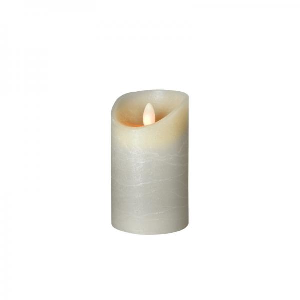 SOMPEX LED Wachskerze SHINE   grau   gefrostet   D: 7,5cm H: 12,5cm   fernbedienbar   Timer