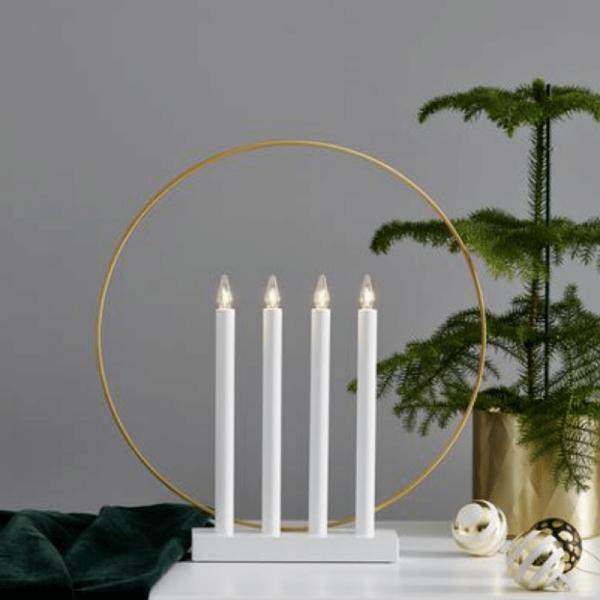 """Fensterleuchter """"Glory"""" - 4flammig - warmweiße Glühlampen - H: 45cm - Schalter - Weiß/Gold"""