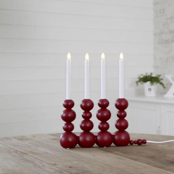"LED-Fensterleuchter ""Bubbles"" - 4 warmweiße LEDs - L: 29cm, H: 37cm - Holz - Schalter - rot"