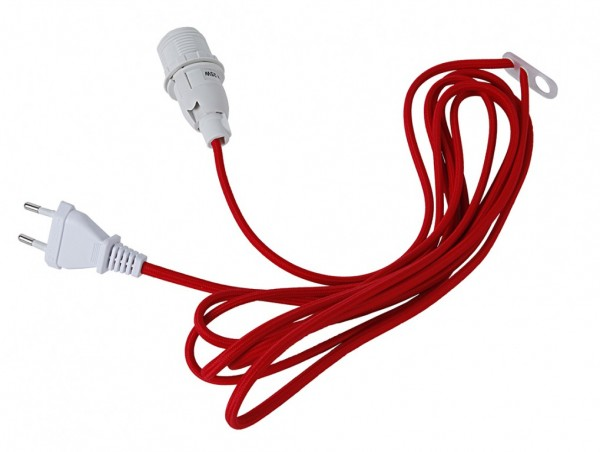 Lampenhalterung für Leuchtsterne | E14 | Textilummanteltes Kabel | 3,50m | Rotes Kabel