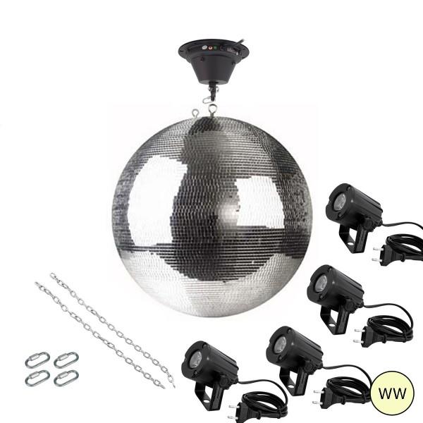Spiegelkugel Komplettset 50cm mit Motor, 4 x LED Pinspot (warmweiss) und Montagematerial PREMIUM