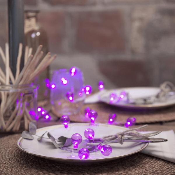 """LED-Lichterkette """"Mini Glow"""" - 20 kleine pinke Birnen - warmweiße LEDs - 1,6m - Batterie - Timer"""