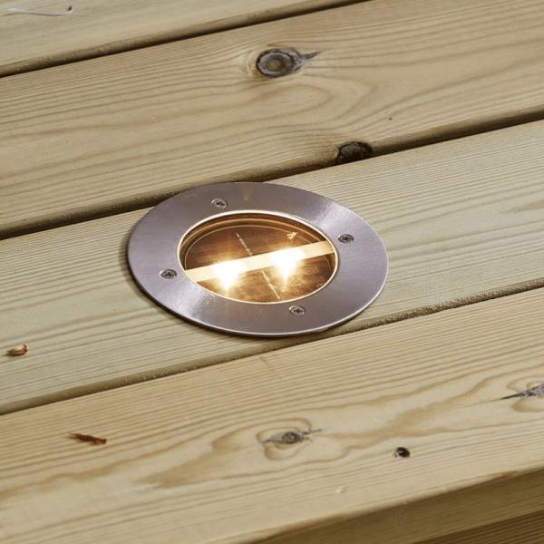 LED Einbauspot mit Solarfeld und Dämmerungssensor - Warmweiß - 12cm Durchmesser