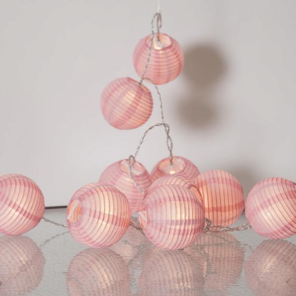 "LED Lichterkette ""Festival"" - 10 rosa Lampions - warmweiße LED - 1,35m - inkl Trafo"
