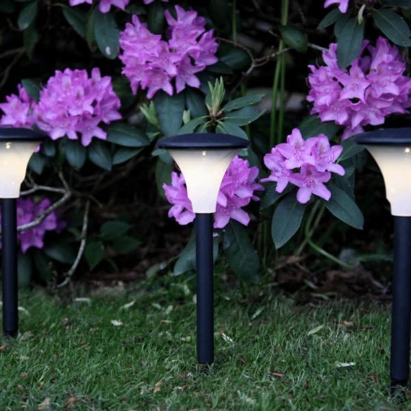 "LED Solar Wegleuchte ""Faro"" - warmweiße LED - H: 26cm, D:11cm - Dämmerungssensor - schwarz - 2er Set"