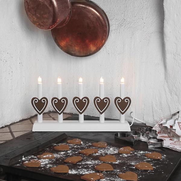 Fensterleuchter mit braunen Herzen - 5flammig - warmweiße Glühlampen - H: 21cm - Weiß/Braun