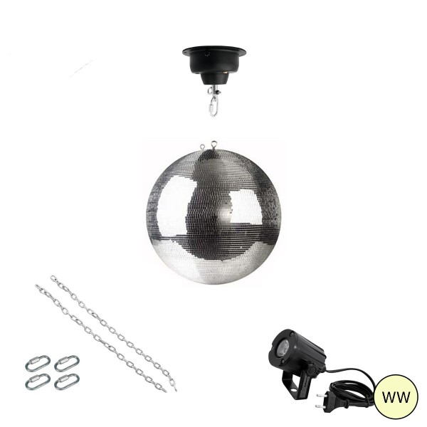 Spiegelkugel Komplettset 30cm mit Motor, LED Pinspot (warmweiss) und Montagematerial PREMIUM