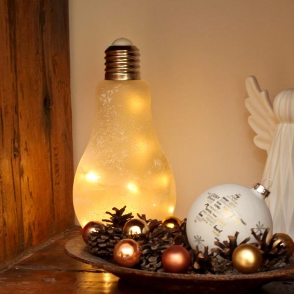 LED Glühbirne mit Lichterkette zum Stellen - H: 22cm, D: 11cm - Batteriebetrieb - weiß gefrostet