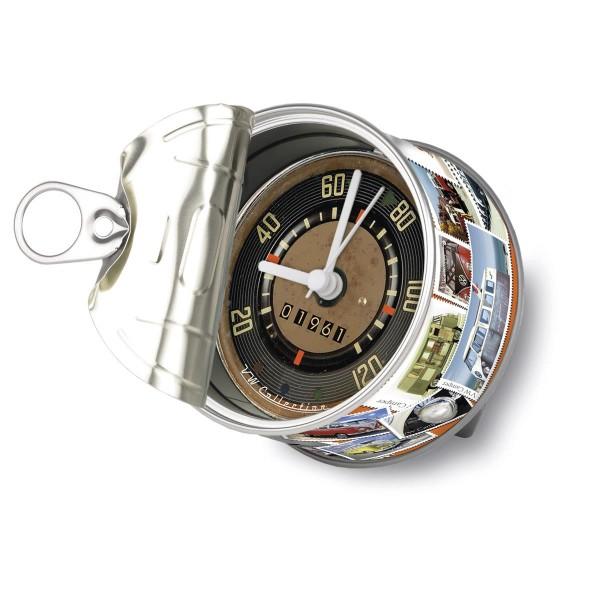 """VW Volkswagen MyClock """"STAMPS"""" - Uhr in der Konservendose - magnetisch - Blickfang / Geschenk"""
