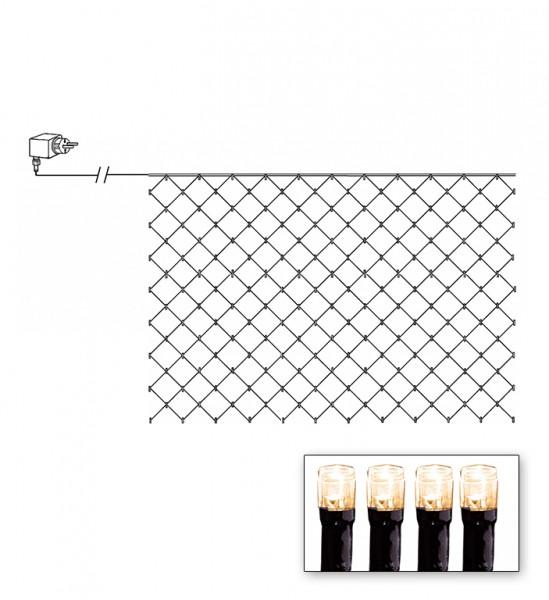 LED-Lichternetz   Serie LED   Outdoor   Schwarzes Kabel   warmweiße LED   1.00m x 2.00m   90x LEDs