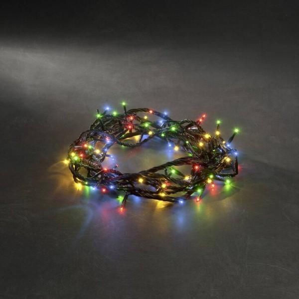 Microlichterkette - Pure - 3,96m - 100 bunte Birnen - Schwarzes Kabel - 8 Funktionen - Outdoor