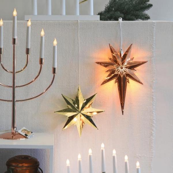 """Messingstern """"Bethlehem"""" - hängend - 7-zackig - H: 35cm, L: 25cm - inkl. Kabel - kupfer"""