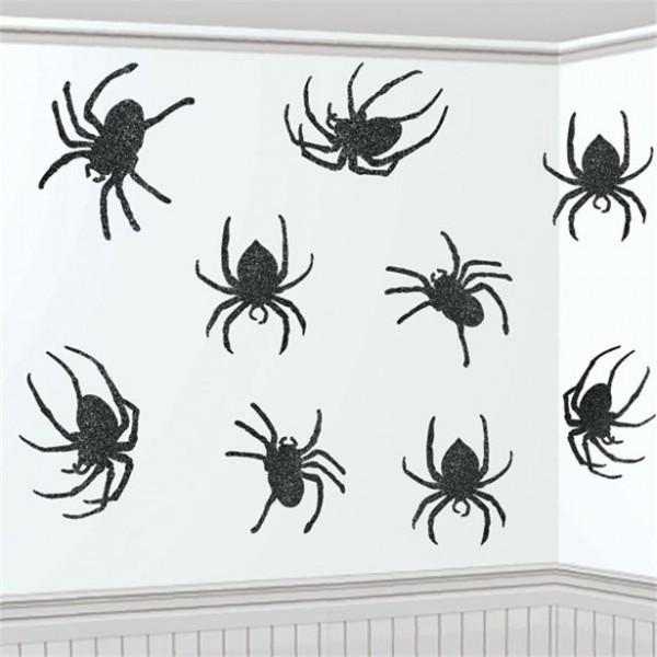 Halloween Raumdekoration Spinnen - 9 Stück - 20,3cm - glitzernde Oberfläche