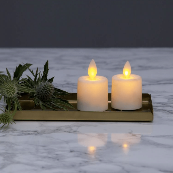 "LED Teelicht ""Twinkle"" - mechanisch bewegte Flamme - Batteriebetrieb - Timer - H: 6cm - 2er Set"