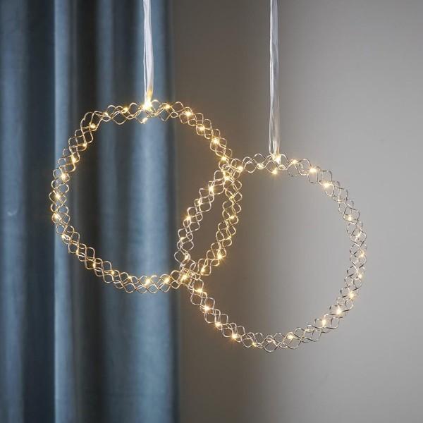 LED Lichtkranz Hoop - 30 warmweiße LED - D: 30cm - Metall - Batteriebetrieb - Timer - gold