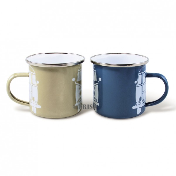 "VW Collection Emaille Tassen SET ""VW BLUE/GREY"" - 350ml - mit Edelstahlrand"