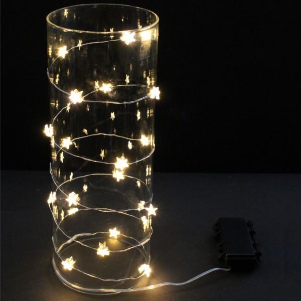 "LED Drahtlichterkette ""Dew Drop"" klare Sterne - 20 warmweiße LED - L: 1,90m - Batterie - outdoor"