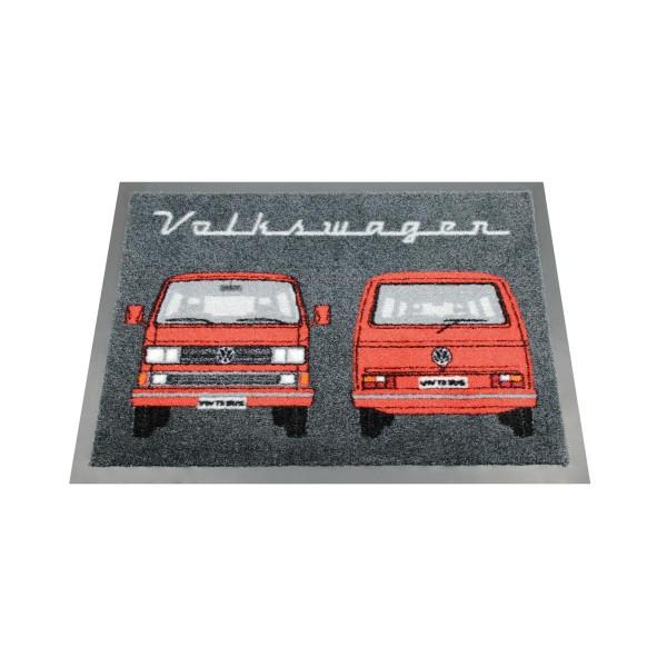 "Fußmatte ""VW T3 rot"" - 70 x 50cm - 100% Nylon, waschbar, PVC Rücken - MADE IN EU"