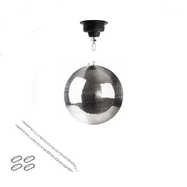 Spiegelkugel Set 30cm Kugel PREMIUM + Motor MBM-404, 2 Ketten, 4 Kettenglieder