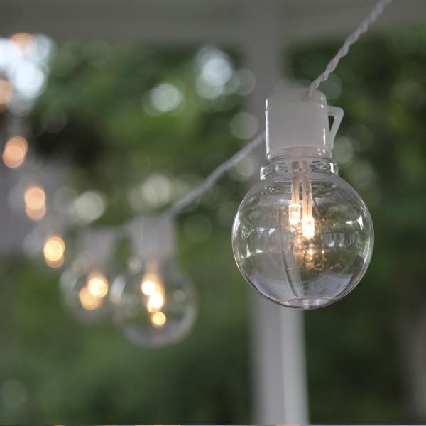 LED Partylichterkette - 16x 2 warmweiße LED - L: 4,5m - outdoor - weißes Kabel - transparent