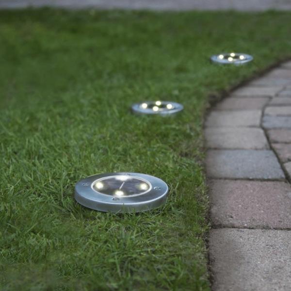 LED-Solar-Wegleuchten - 3er Set - Edelstahl - warmweiße LEDs - D: 11,5cm - Dämmerungssensor - 5lm