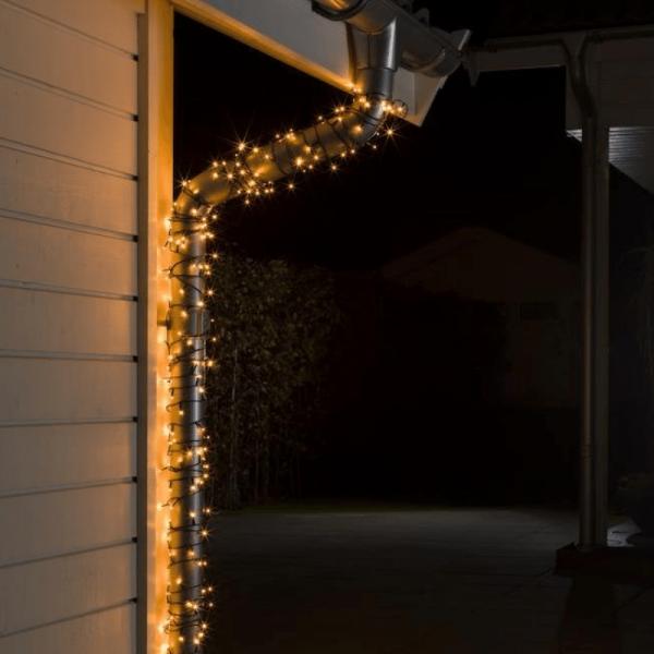 Micro LED Lichterkette - 500 bernsteinfarbene LED - L: 34,93m - schwarzes Kabel - Outdoor