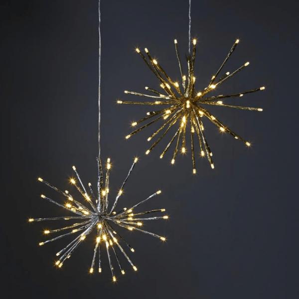 "3D-LED-Hängestern ""Firework"" - D: 30cm - silber mit 64 warmweißen LED - Programme - Outdoor"