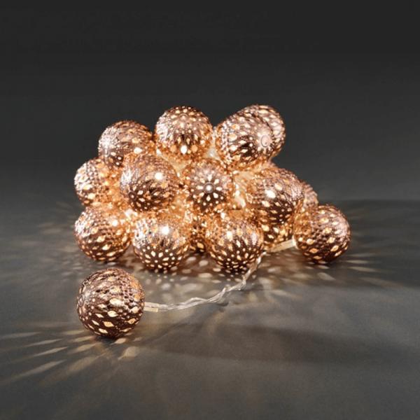 LED Dekolichterkette - 24 warmweiße LED - Ø 4cm - L: 3m - transparentes Kabel - bronze