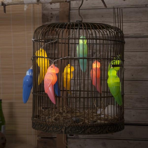 "LED Lichterkette ""Birdy"" - 10 bunte Papageien - warmweiße LED - L: 1,35m - Batterie - Timer"