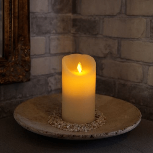 LED-Kerze   Echtwachs   Twinkle   mechanische Flamme   Timer   Creme   ↑15cm