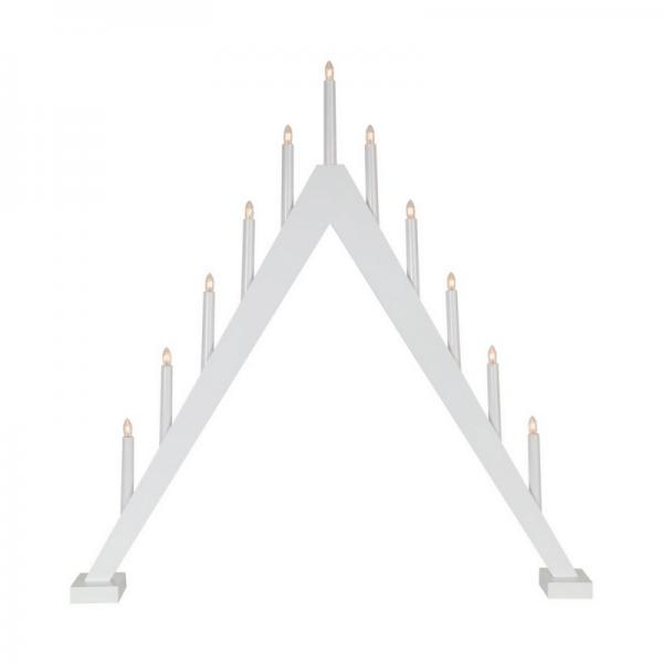 Fensterleuchter Trill - 11 warmweiße Glühlampen - L: 78cm, H: 79cm - Holz - Schalter - Weiß