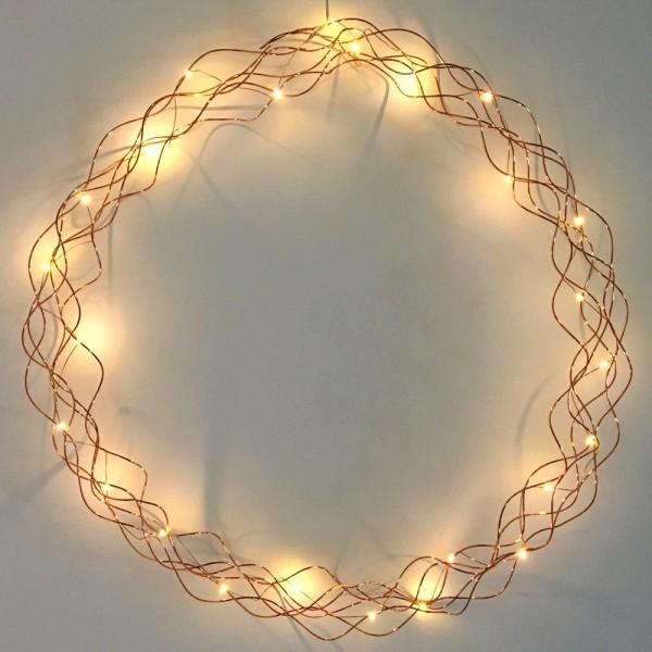 LED-Kranz - Curly Line Indoor - feiner Kupferdraht - Ø 59cm - 25 Warmweiße LEDs, Batterie, Timer