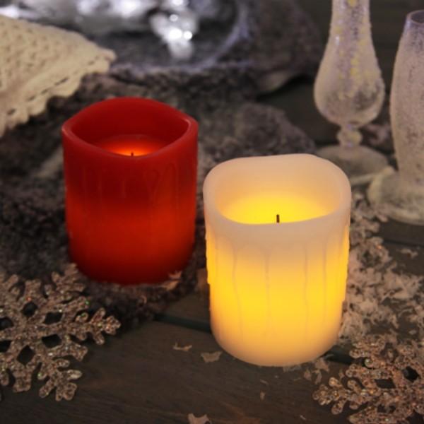 LED Kerze DRIP - Echtwachs - flackernde LED - Timer - H: 10cm - rot