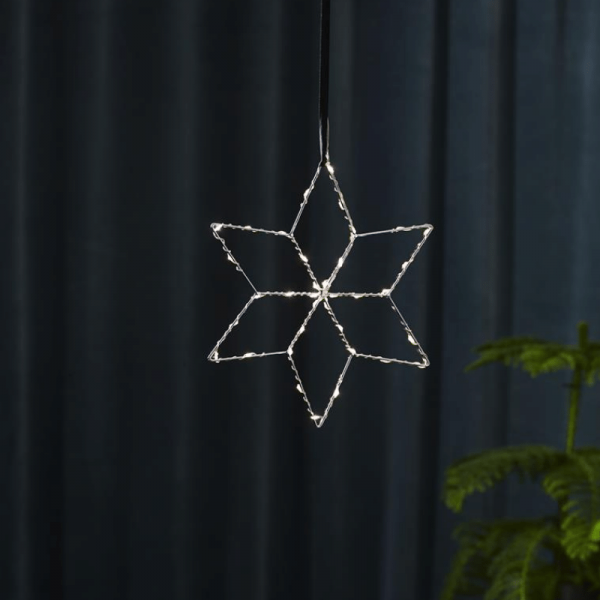 """LED Metallstern """"Lolly - hängend - 36 hellweiße LEDs - Ø28cm - Batteriebetrieb - Timer - silber"""