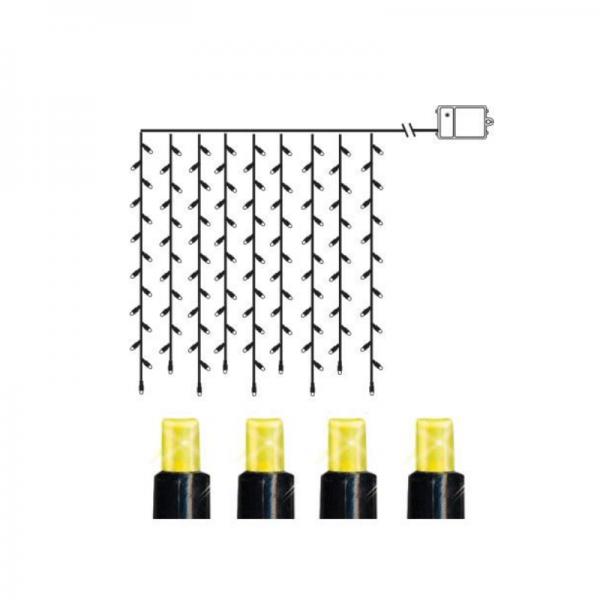 LED-Lichtervorhang - Dura Line IP44 - Batterie - Timer - 1,10 x 1,00m - 120x Warmweiß - Schwarz