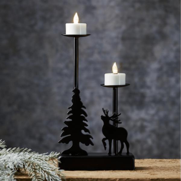 """LED-Leuchter """"Walder"""" - 2 flammig - warmweiße LED - L: 13cm, H: 27cm - Timer - Batterie - schwarz"""