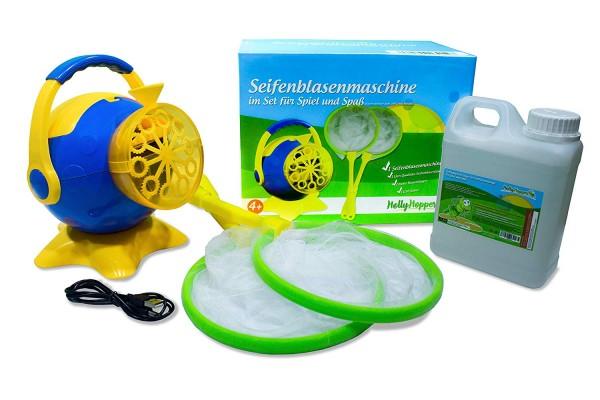 Seifenblasenmaschine Komplettset - inklusive Fluid, 2 x Blasen Kescher und USB Kabel - HOLLYHOPPER