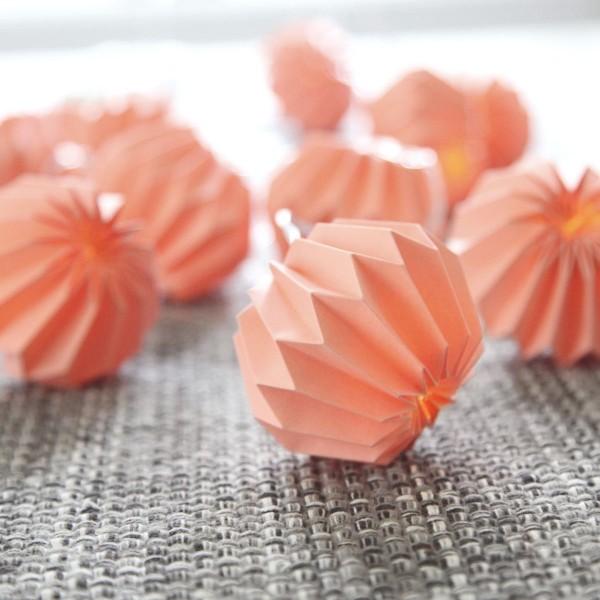LED Origami Lichterkette - 10 pinke Papierblumen - warmweiße LED - L: 2,25m - Batterie - Timer