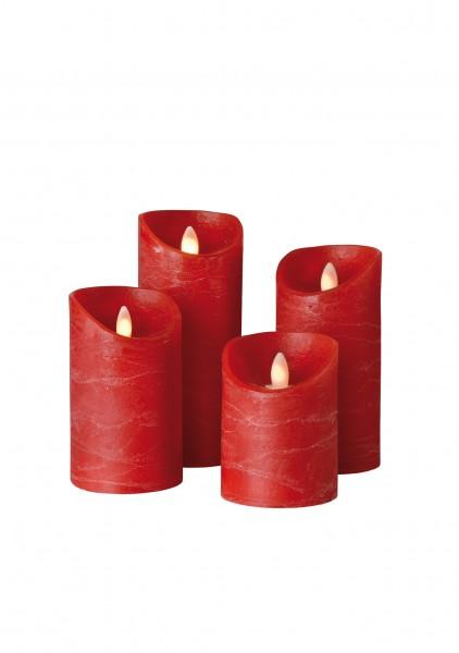 SOMPEX LED Wachskerze SHINE 4er Set | rot | gefrostet | fernbedienbar | Timer