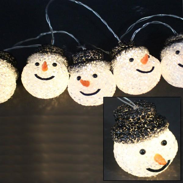 LED Lichterkette Schneemänner - 10 warmweiße LED - L: 0,9m - Batteriebetrieb