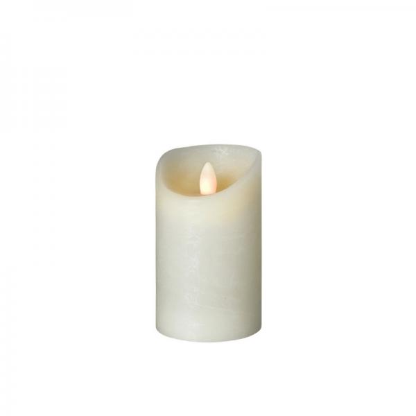 SOMPEX LED Wachskerze SHINE | elfenbein | gefrostet | D: 7,5cm H: 12,5cm | fernbedienbar | Timer