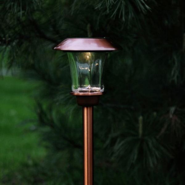 "LED Solar Wegleuchte ""Granada"" - Edelstahl - warmweiße LED - H: 48cm - Lichtsensor - kupferfarben"