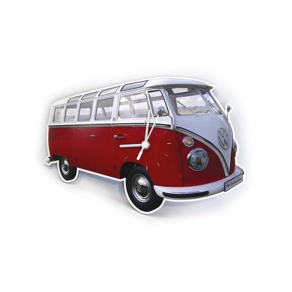 "Wanduhr VW T1 Bulli ""RED BULLI"" - 28x18x2,5cm - MADE IN GERMANY"